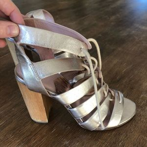 Charlotte Stone Metallic leather block wood heels